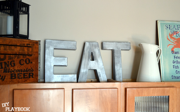 Anthropologie Inspired Zinc Letters reading EAT