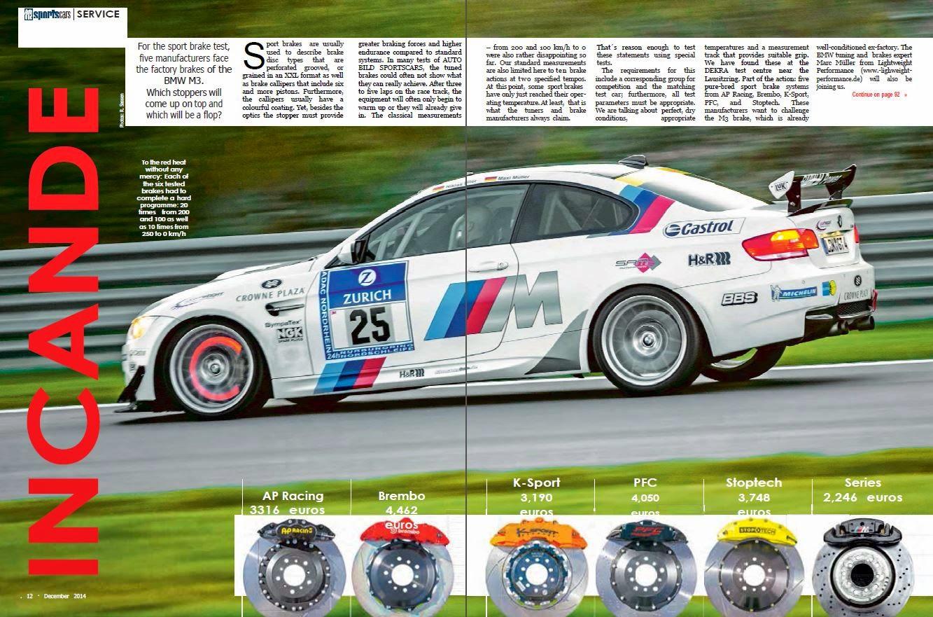 BMW 5 Series best brake pads for bmw AutoBild Magazine Picks StopTech as Best BBK in Comparison Test