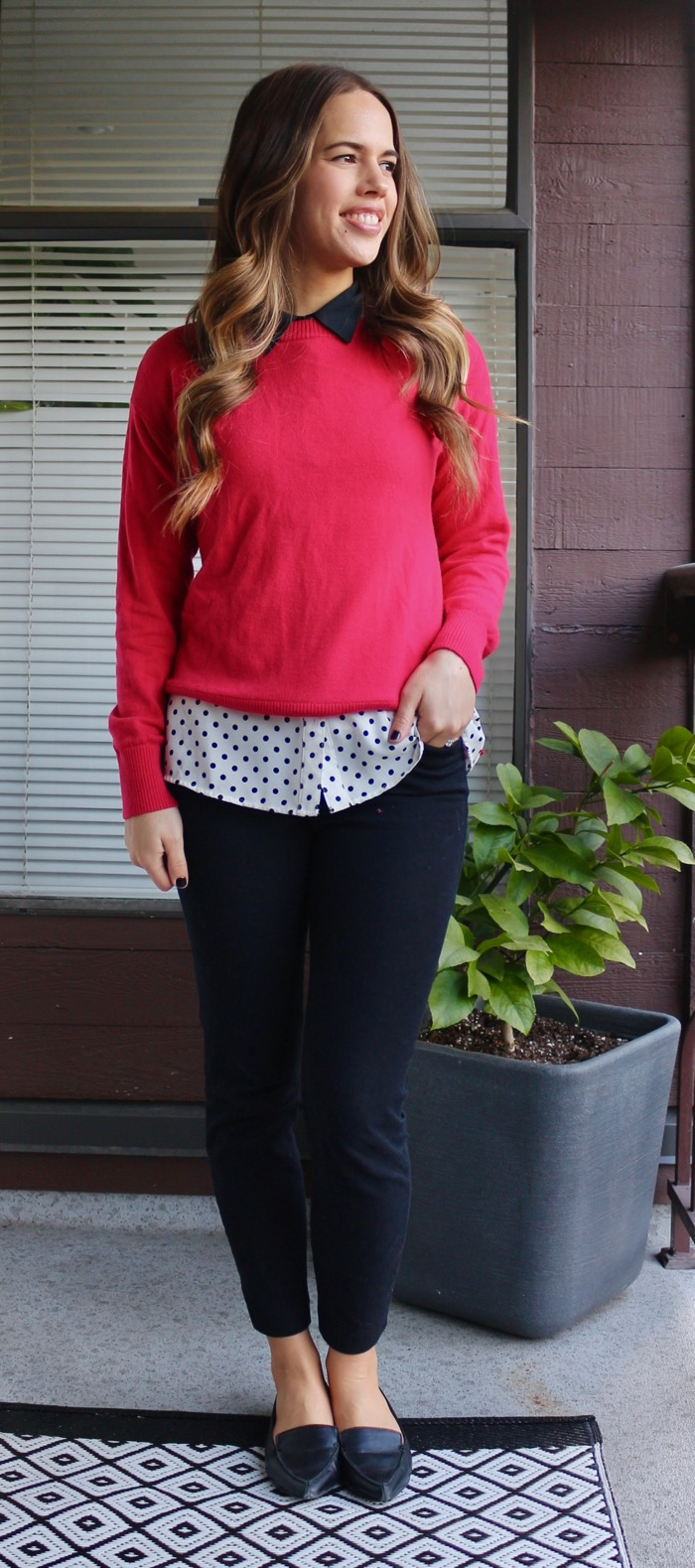 Jules in Flats - Red Sweater layered with Polka Dot Collared Blouse