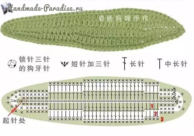 Схема вязания листьев тюльпана