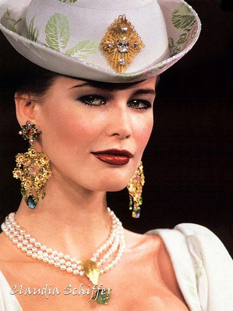 Claudia Schiffer Diamond Studed Gold Earrings