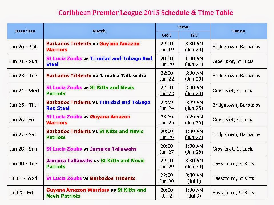 Learn New Things Caribbean Premier League 2015 Schedule  Time Table