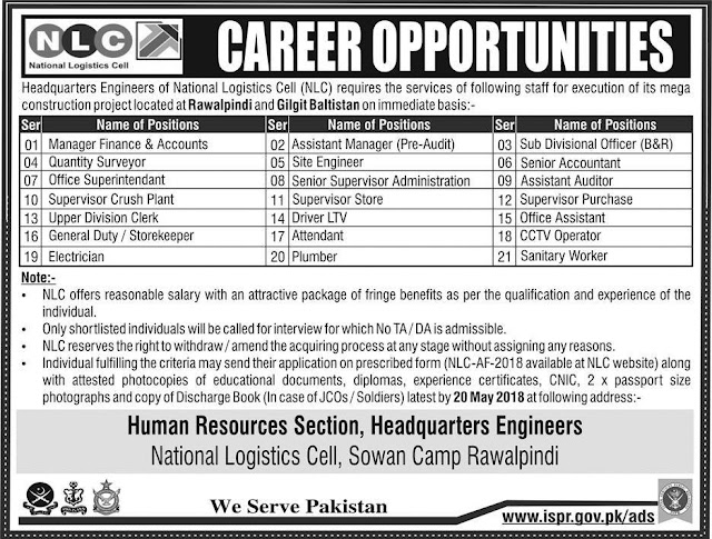 National Logistic Cell Jobs in Pakistan 2018 NLC Jobs