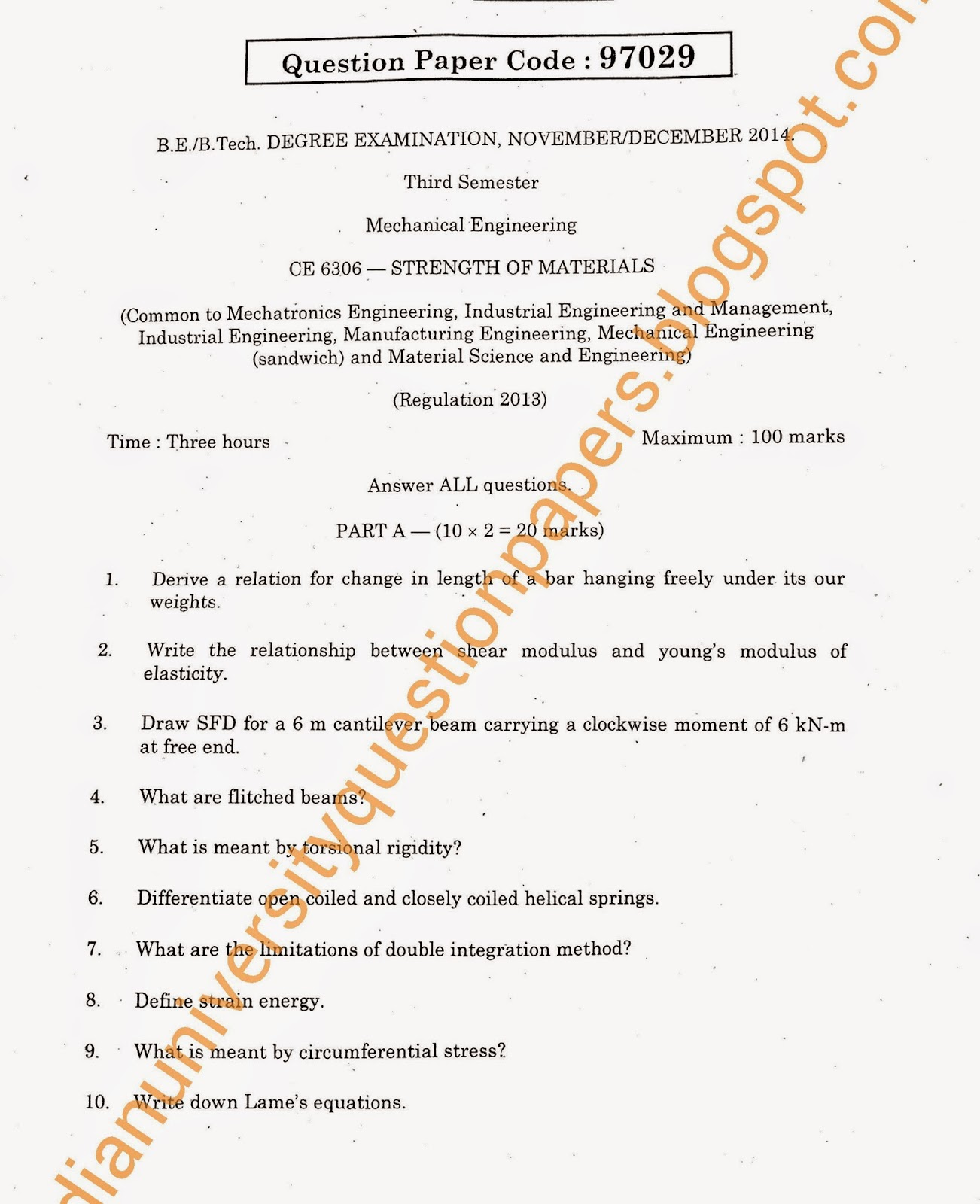 CE 6306 - Strength of Materials: Anna University R-2013 B E MECH
