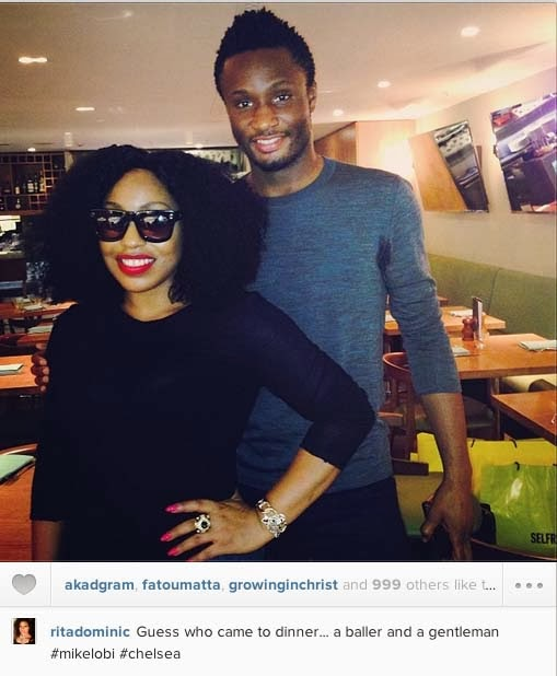 Rita Dominic dinner with Mikel Obi