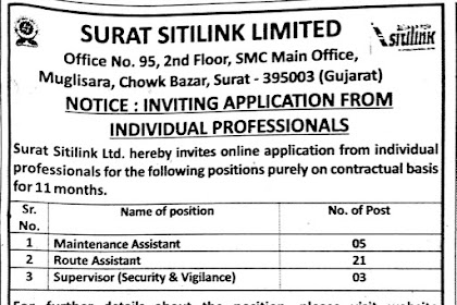 Surat Sitilink Limited Recruitment for Maintenance Assistant, Route Assistant & Supervisor Posts 2019