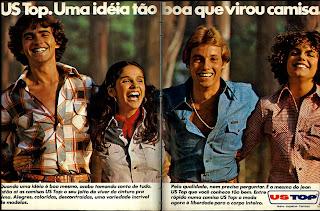 anúncio roupas marca us top de 1977. Anos 70.  Moda anos 70; propaganda anos 70; história da década de 70; reclames anos 70; brazil in the 70s; Oswaldo Hernandez