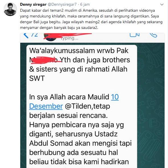 kicauan Denny Siregar tentang Ustadz Abdul Somad