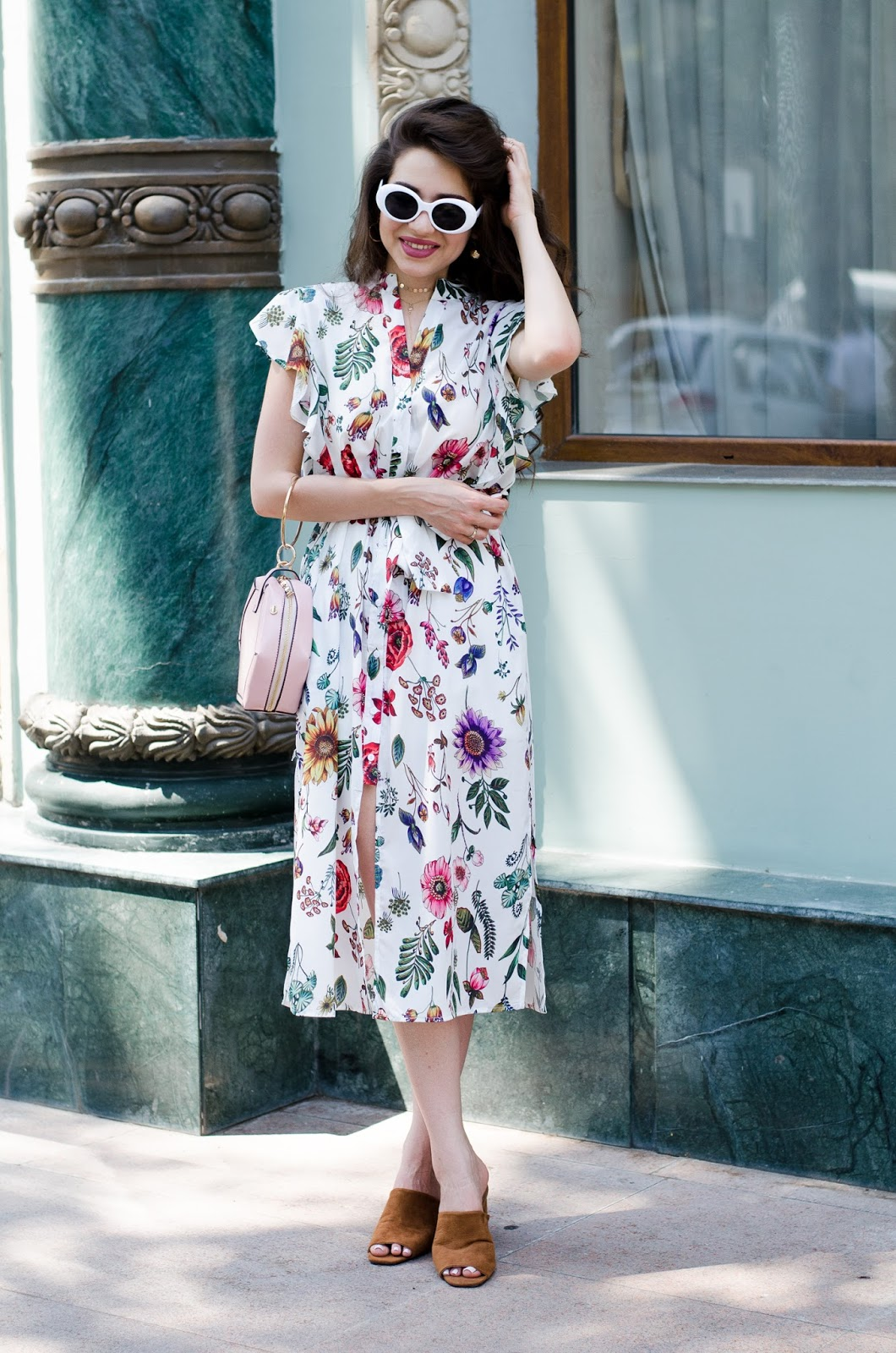 fashion blogger diyorasnotes diyora beta midi dress ruffles printed dress mules lookoftheday street style