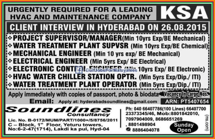 HVAC Maintenance Company jobs for KSA - Gulf Jobs for Malayalees