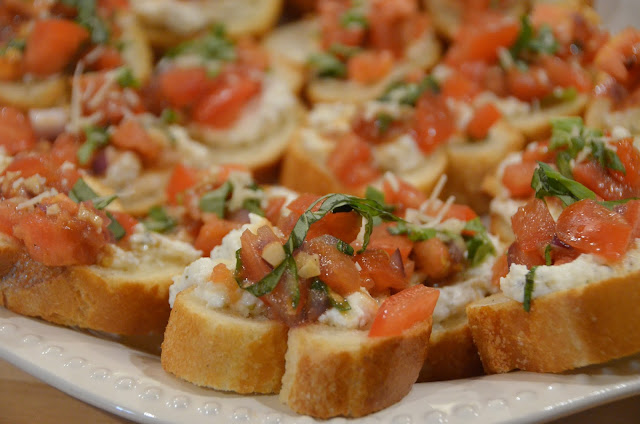 meatless monday bruschetta with tomatoes, ricotta, and basil