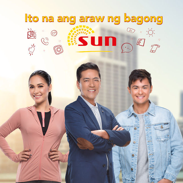 the newest Sun endorsers, Vic Sotto, Maja Salvador, and Matteo Guidicelli