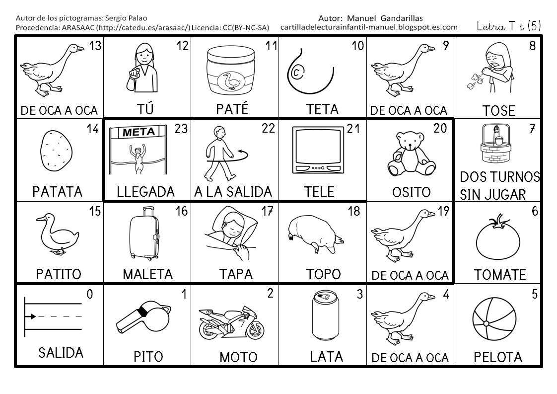 Cartilla De Lectura Infantil Juegos De La Oca