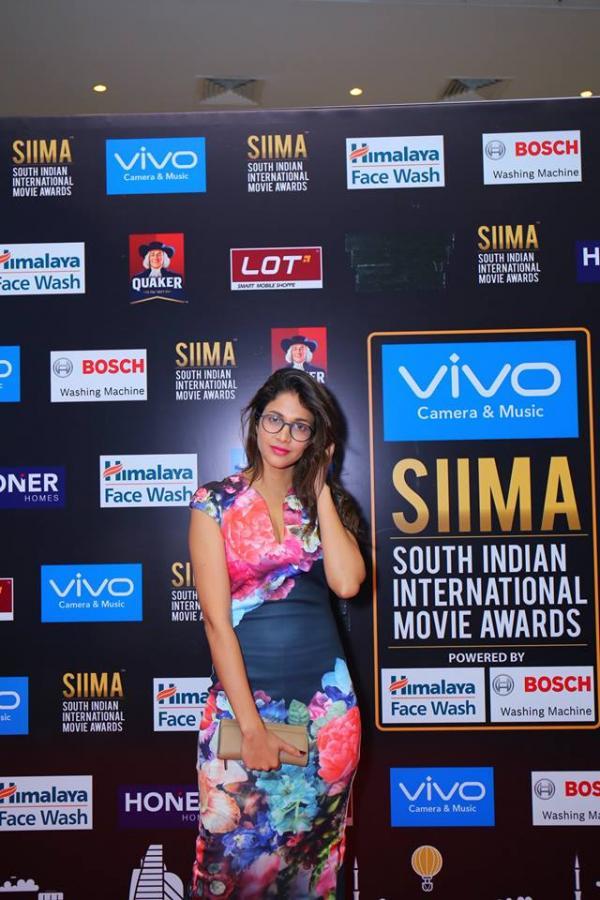 Beautiful Telugu Girl Lavanya Tripathi At Siima Awards 2017 In Mini Blue Dress