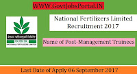 National Fertilizers Limited Recruitment 2017– 34 Management Trainees