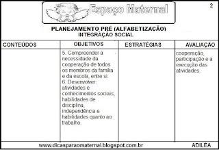 Planejamento integração social pré-escola