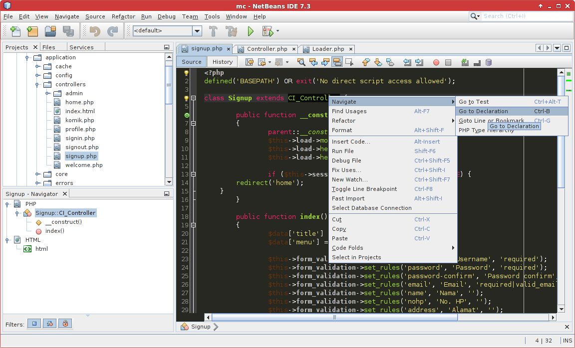 Codeigniter in NetBeans
