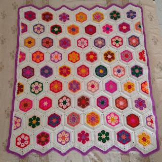 African flower hexagon baby blanket