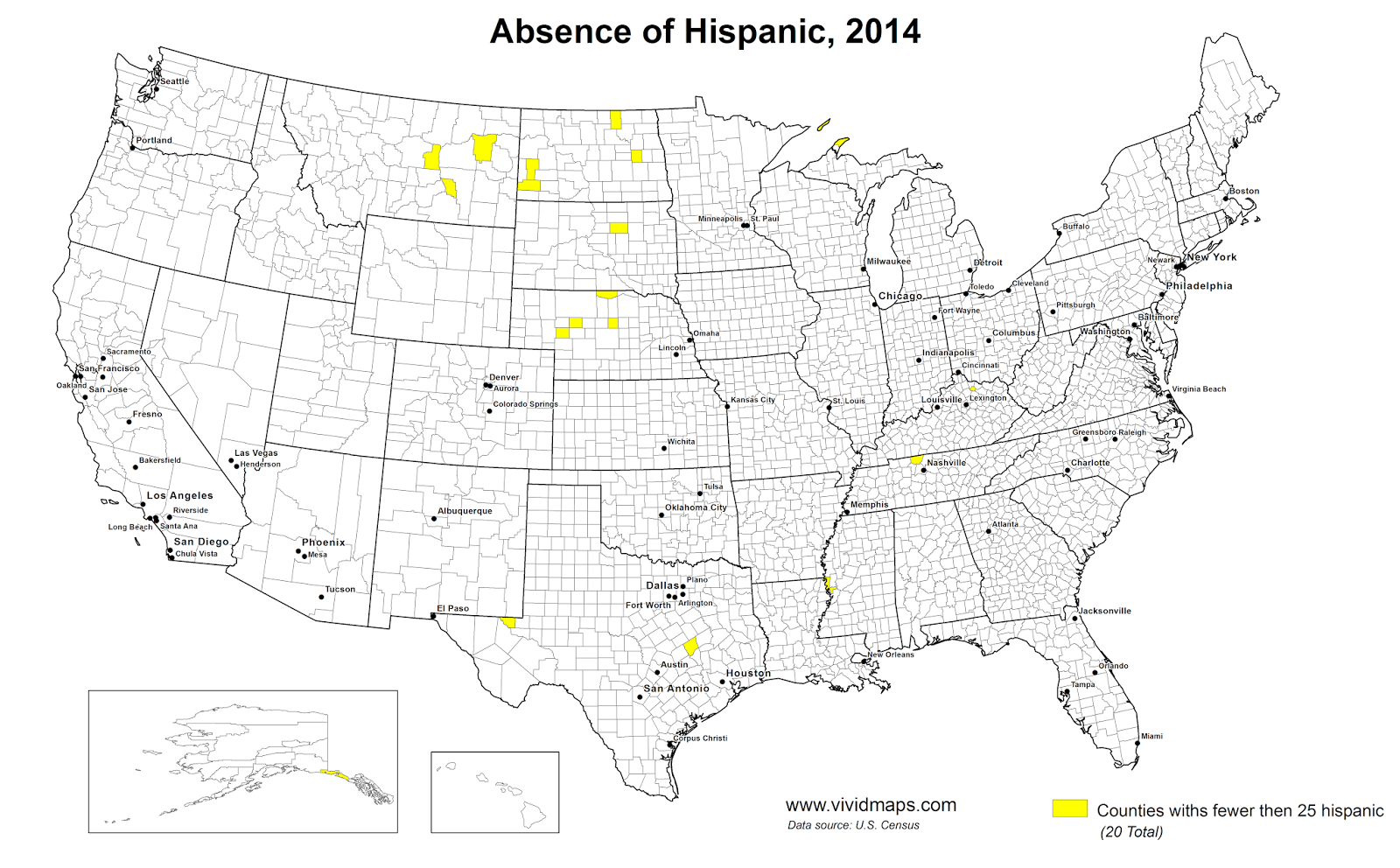 Counties with fewer than 25 hispanic Americans, 2014