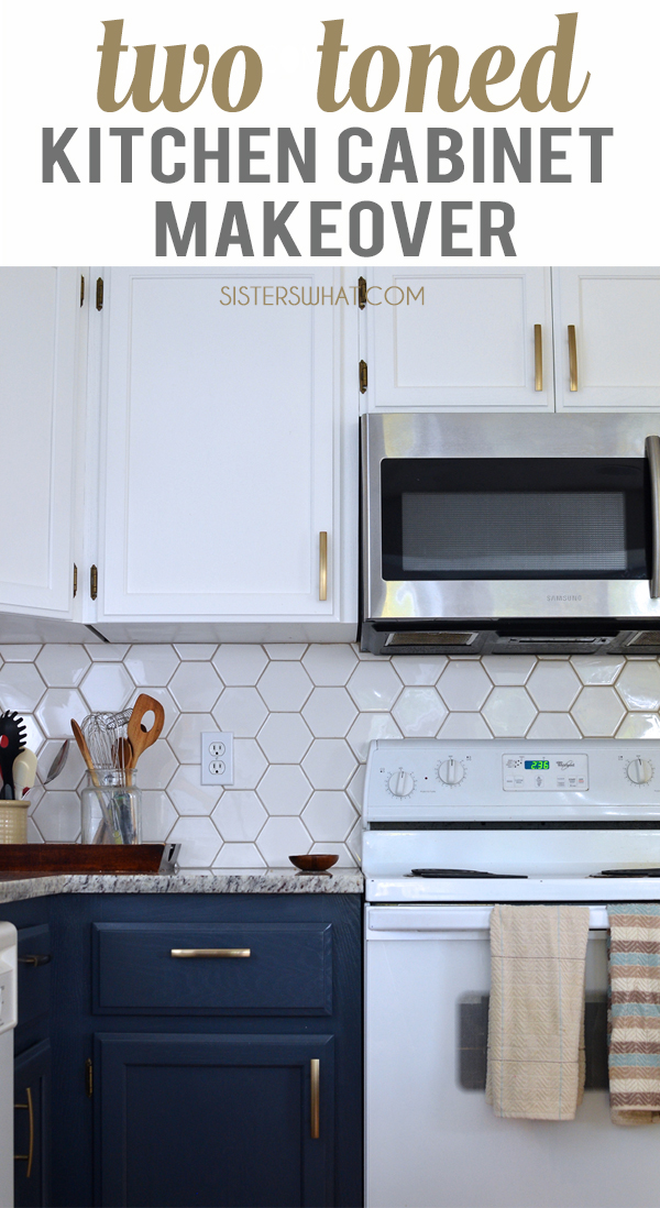 two different color cabinents for a two toned kitchen makeover with brass cabinet handles