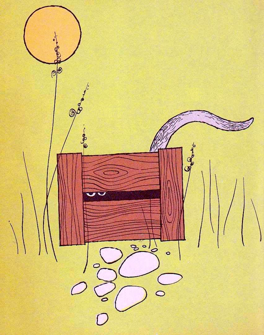 a color illustration of a cat from a Lynley Dodd 1973 children's book