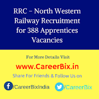 RRC – North Western Railway Recruitment for 388 Apprentices Vacancies