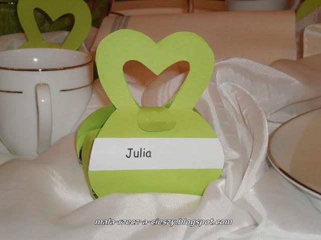 Winietki ślubne - pudełka torebeczki