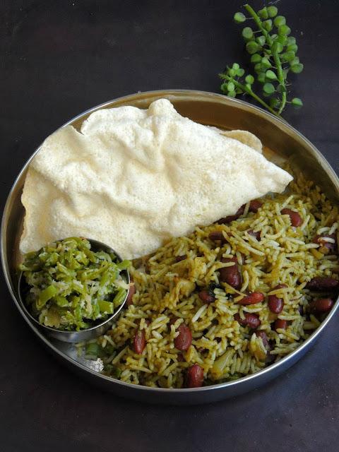 Green Rajma Pulao, Spinach Beans Pulao