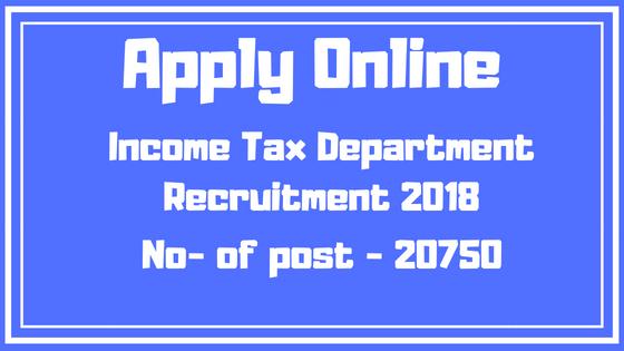Income Tax Department Recruitment 2018