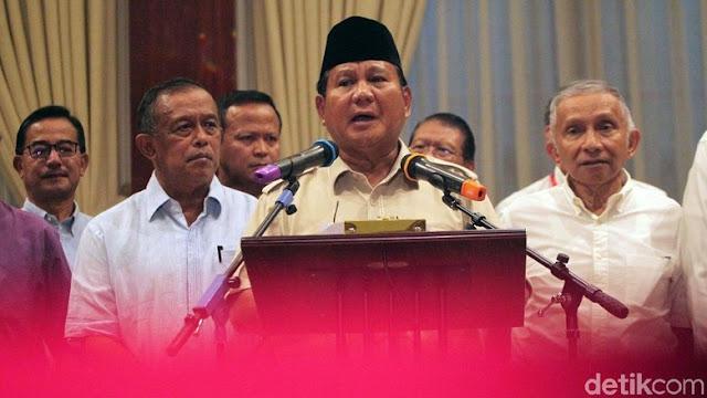 Prabowo: Saya Menolak Penghitungan Pemilu yang Curang