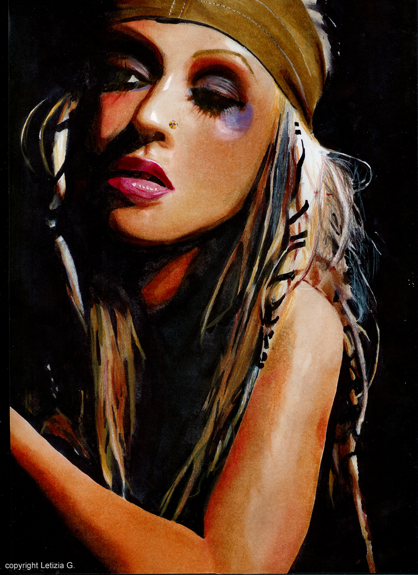 Fan Art Christina Aguilera , technique marker par letilor