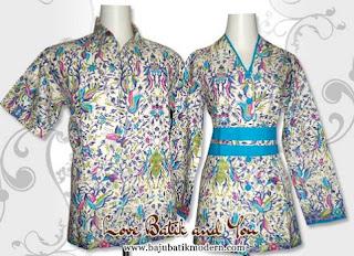 Model Baju Batik Resmi Kombinasi Cerah