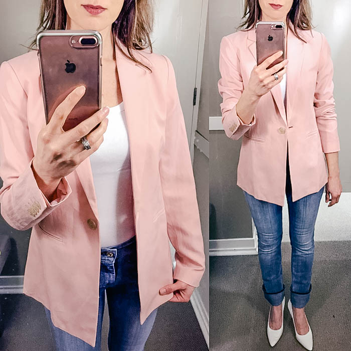 pink blazer, loft, try on session