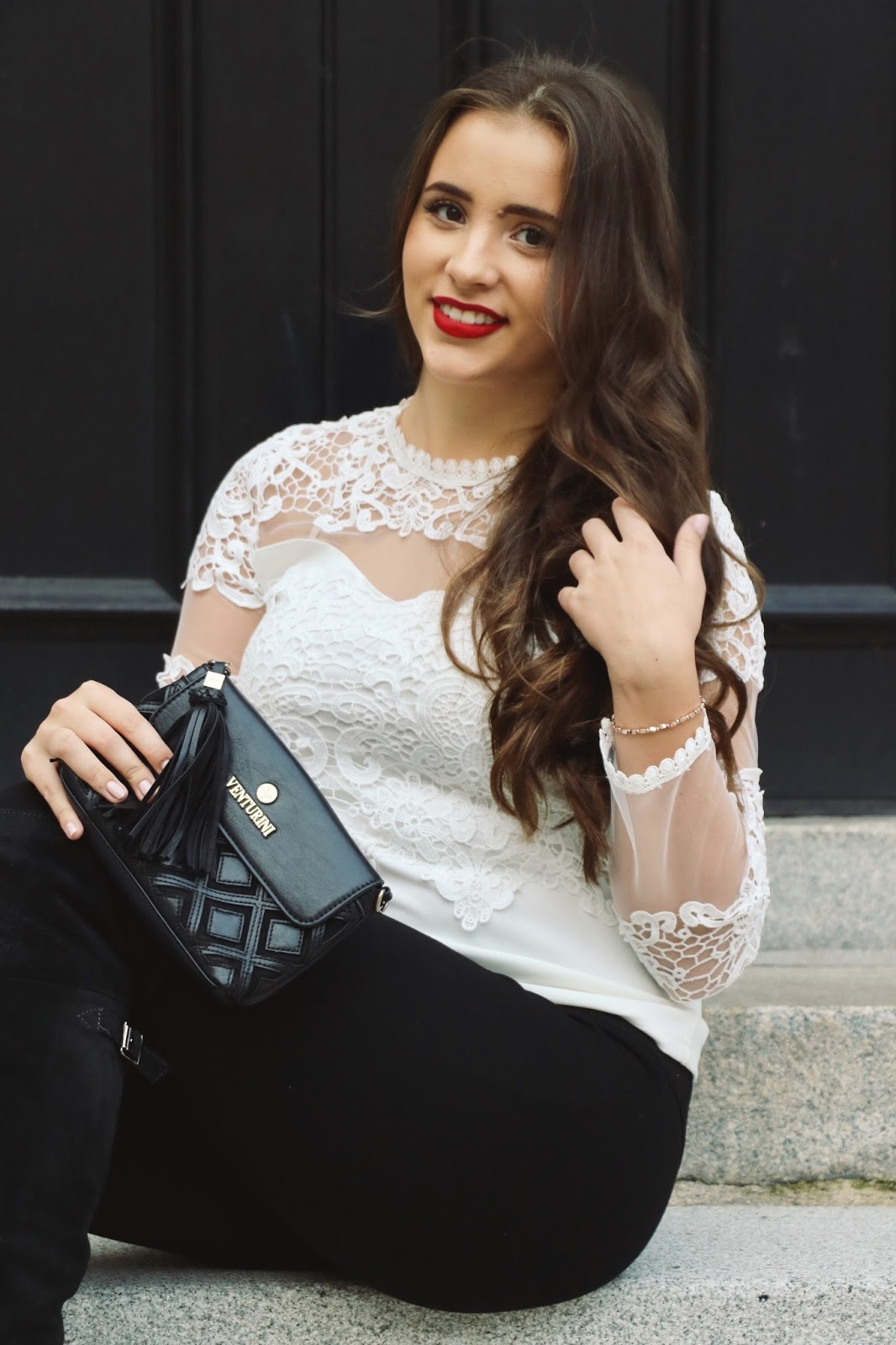 White Lace and Red Lips Holiday Outfit