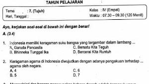 Soal Ulangan Kelas 4 Tema 7 Kurikulum 2013