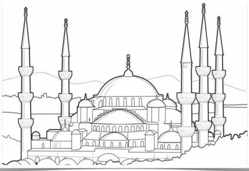 Gambar Mewarnai Masjid Untuk Paud Gambar Mewarnai