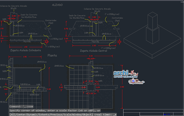 Footings and foundations dice in AutoCAD