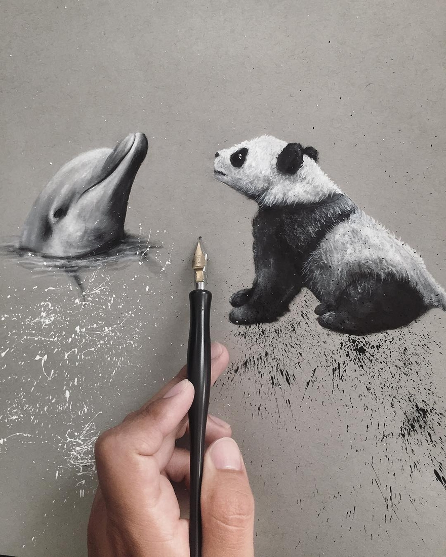 06-The-Dolphin-and-the-Panda-Jonathan-Martinez-Realistic-Pencil-Animal-Drawings-www-designstack-co