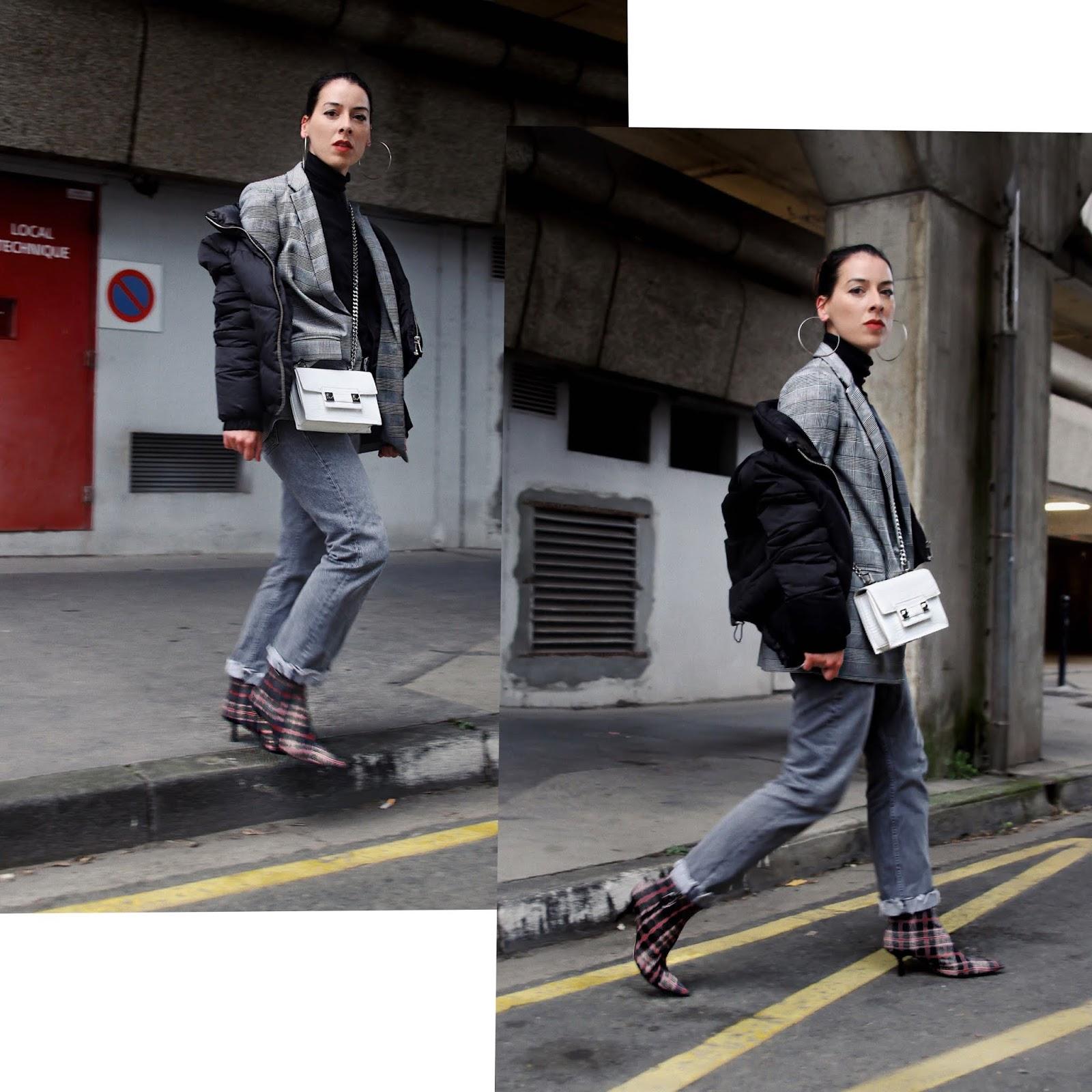 tendance carreaux, idée de look,2018, doudoune noir