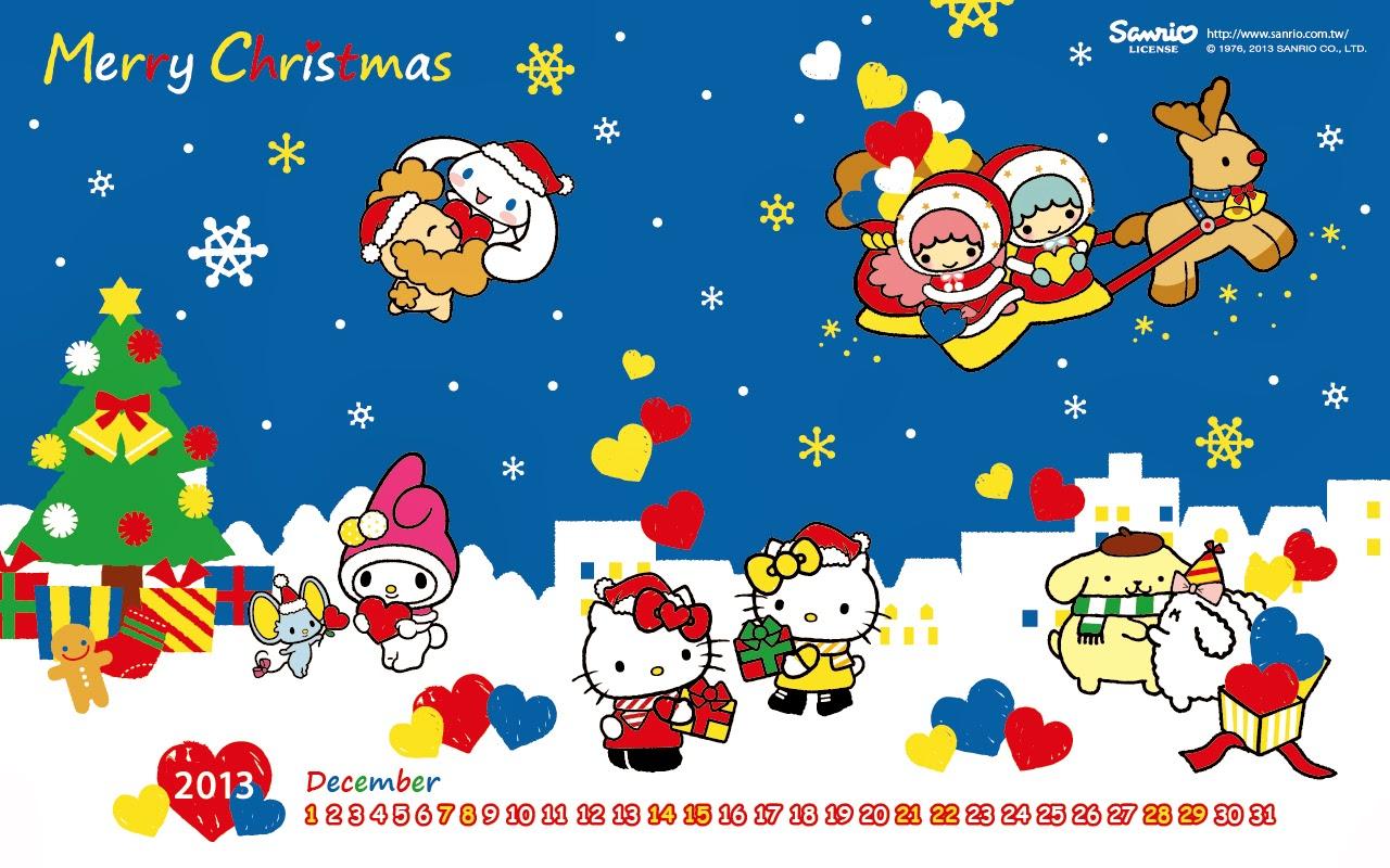 Hello Kitty Merry Christmas.Hello Kitty Loft Merry Christmas December 2013 Calendar