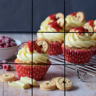 Rule of Thirds grid lines through a Jammie Dodger Cupcake image
