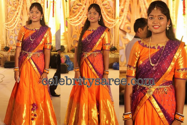 Orange Traditional Half Saree