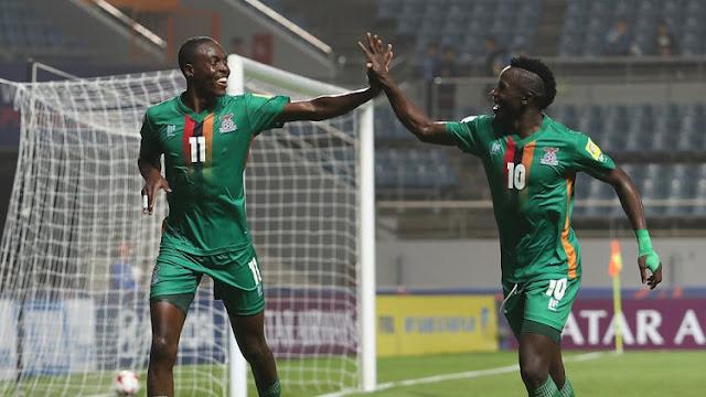 Zambia celebra tras anotar un gol a Argelia en la Eliminatoria África Rusia 2018