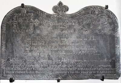 Memorial stone from 1651 at St Winnow Church Cornwall