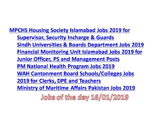 cc4859a9e05c3 MPCHS Housing Society Islamabad Jobs 2019 for Supervisor