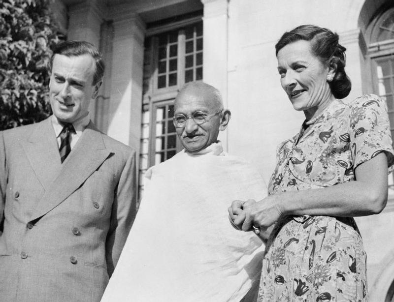 Lord and Lady Mountbatten with Mahatma Gandhi - 1940's