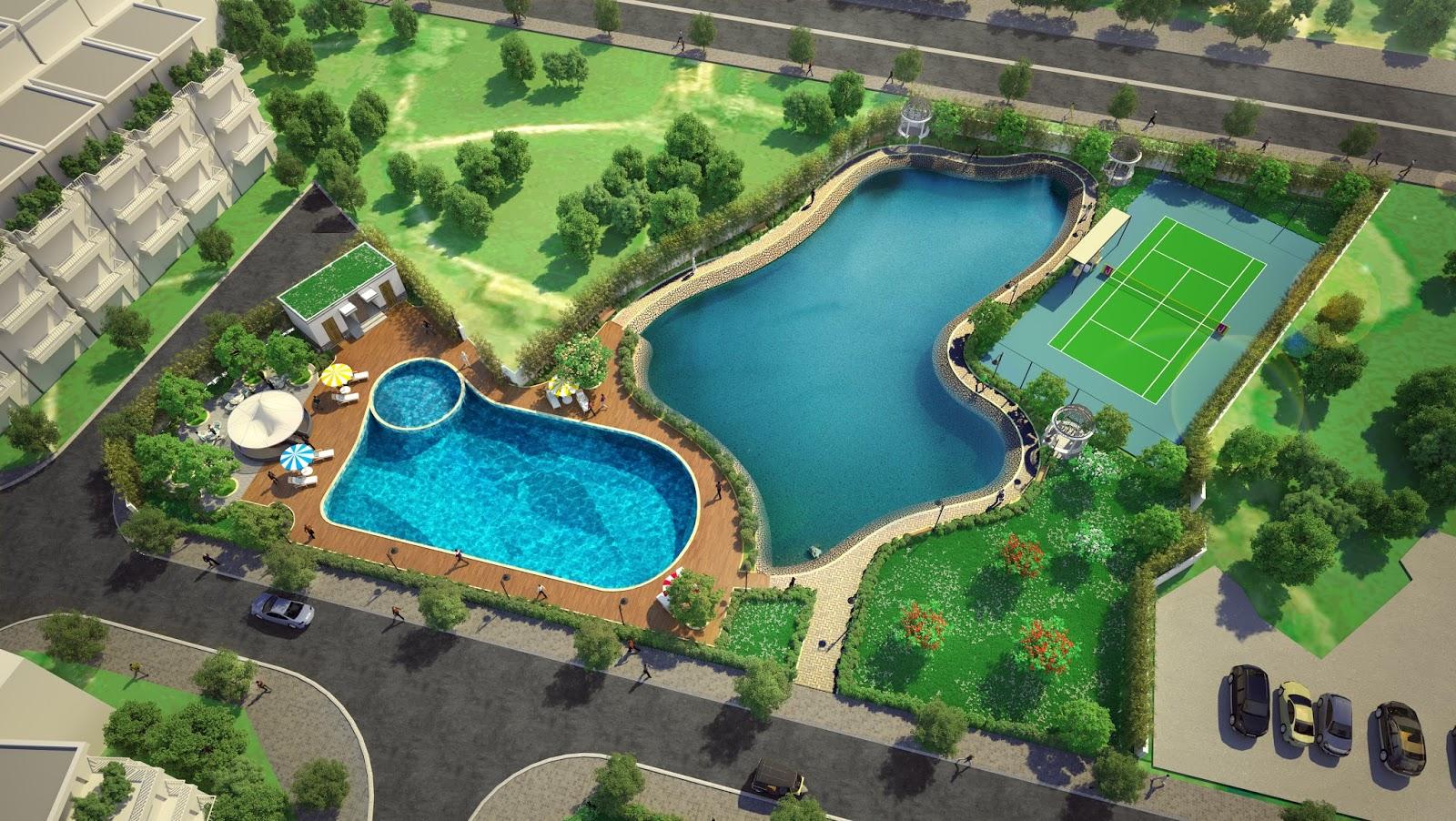 Khu bể bơi, sân tenis Eden Rose