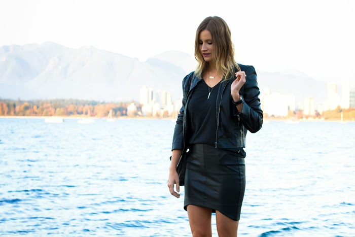 Vancouver Fashion Blogger, Alison Hutchinson, is wearing an all-black leather look with a forever 21 leather jacket, grey aritzia tee, black leather witchery skirt, black sam edelman ankle boots with buckles, rigns from KVBijou and a silver botkier bag