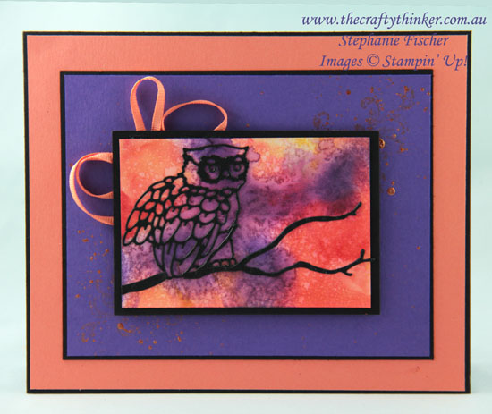 #thecraftythinker  #stampinup  #crazycraftersbloghop #cardmaking  #nightowl  #shimmerpaint , Night Owl, Shimmer Paint, Stampin' Up Australia Demonstrator, Stephanie Fischer, Sydney NSW