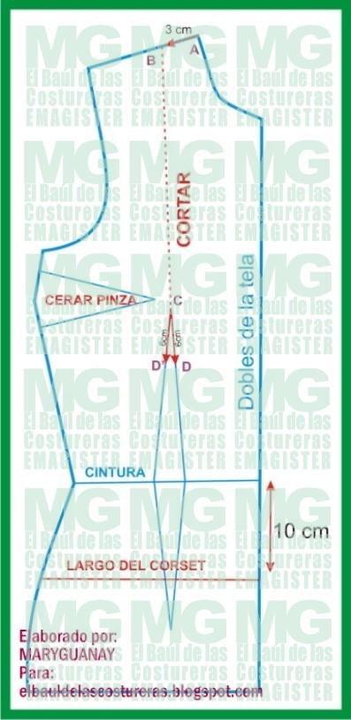 Trazado básico de Corset o Corsé. Delantero Parte I